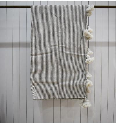 White and light gray striped plaid, white pompom finish