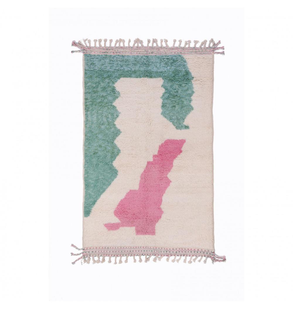 Beni Ouarain carpet 3 colors white pink green