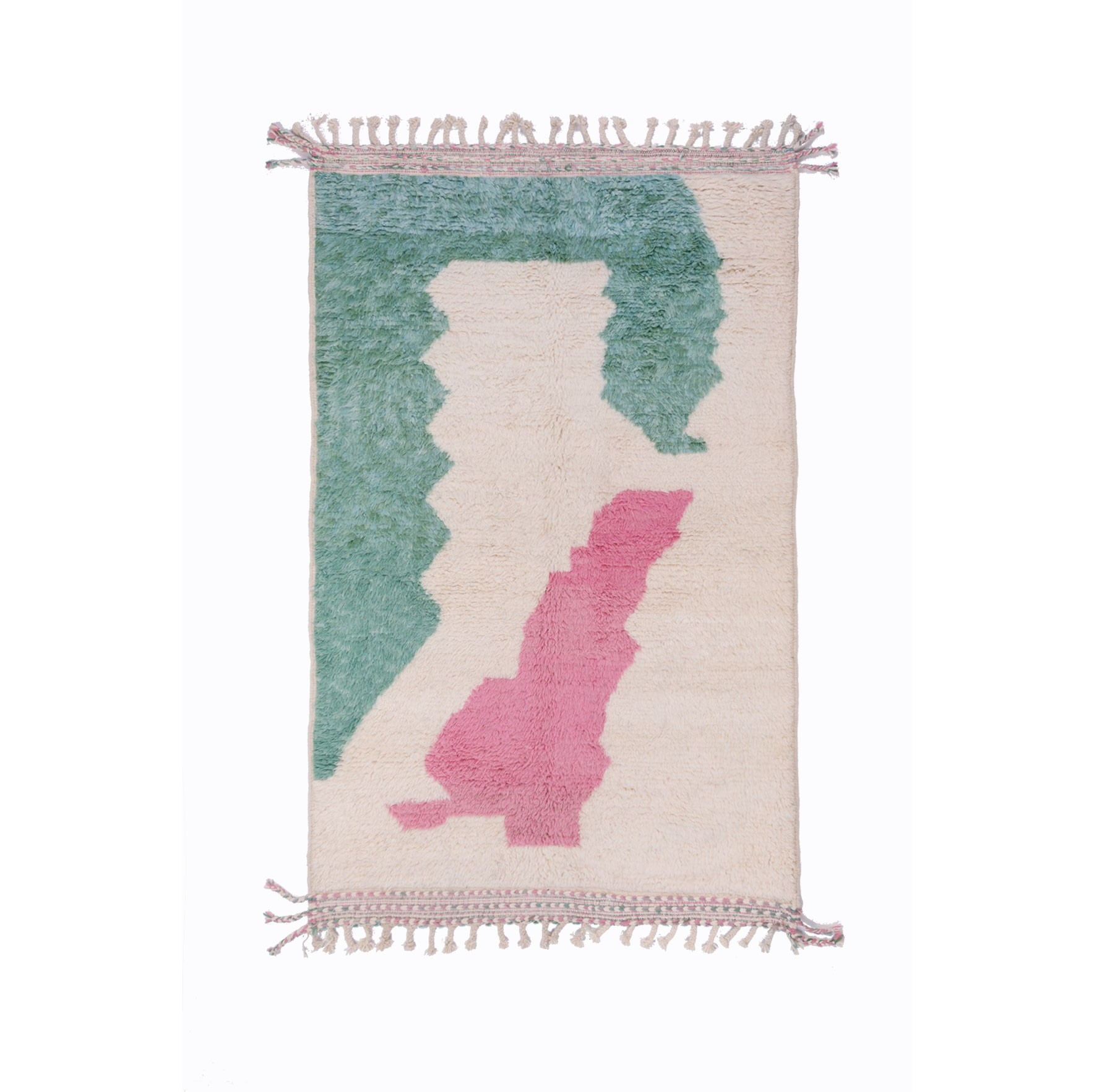 Beni Ouarain carpet 3 colors white pink green