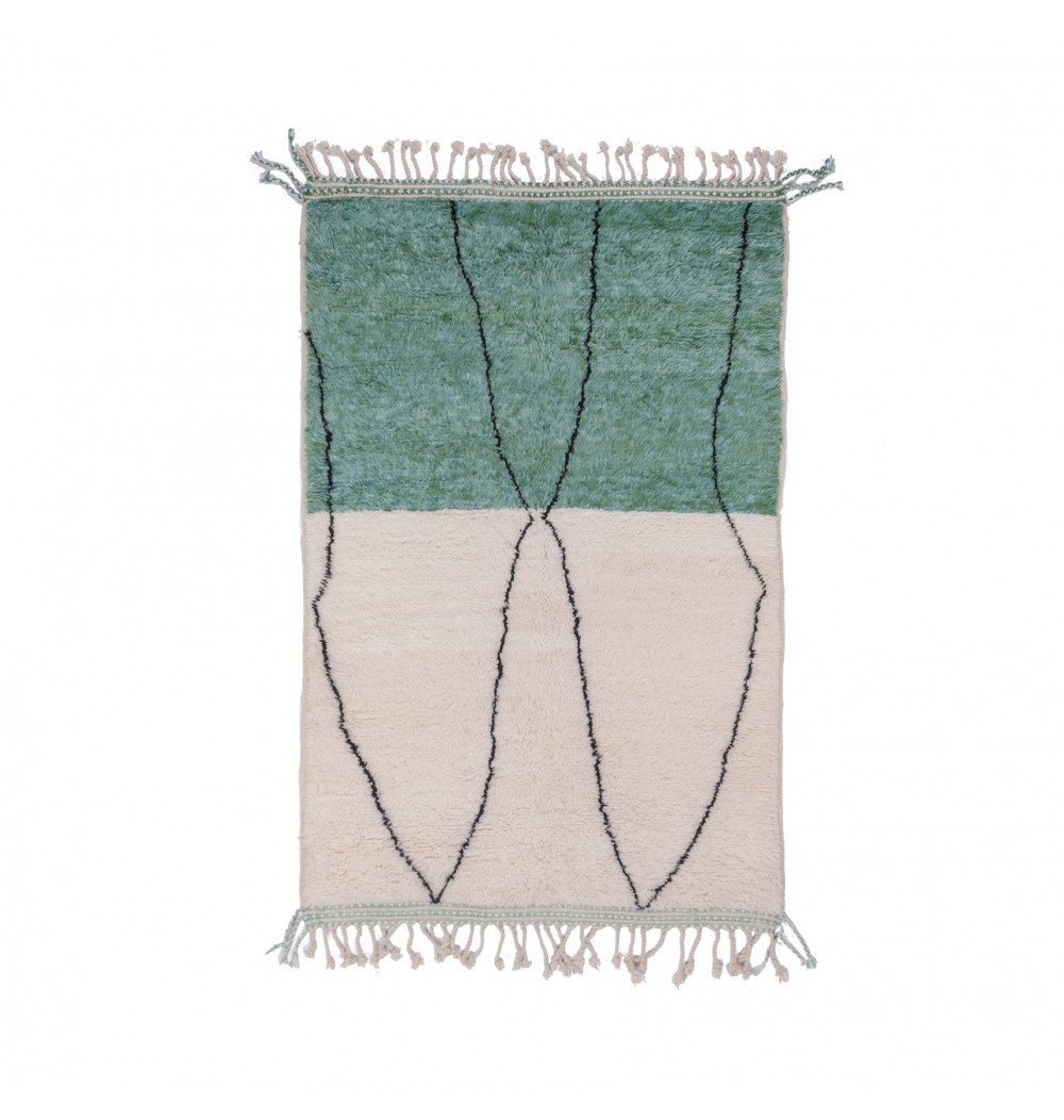 Beni Ouarain two-tone green and white rug