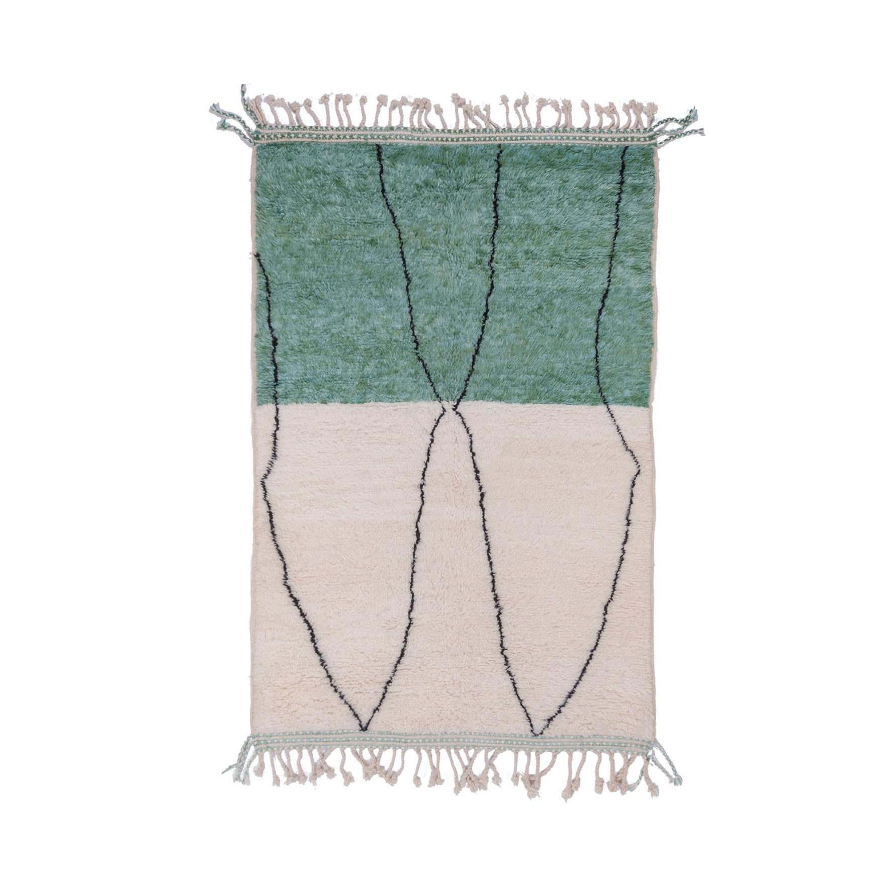 Tapis Beni Ouarain bicolore vert et blanc