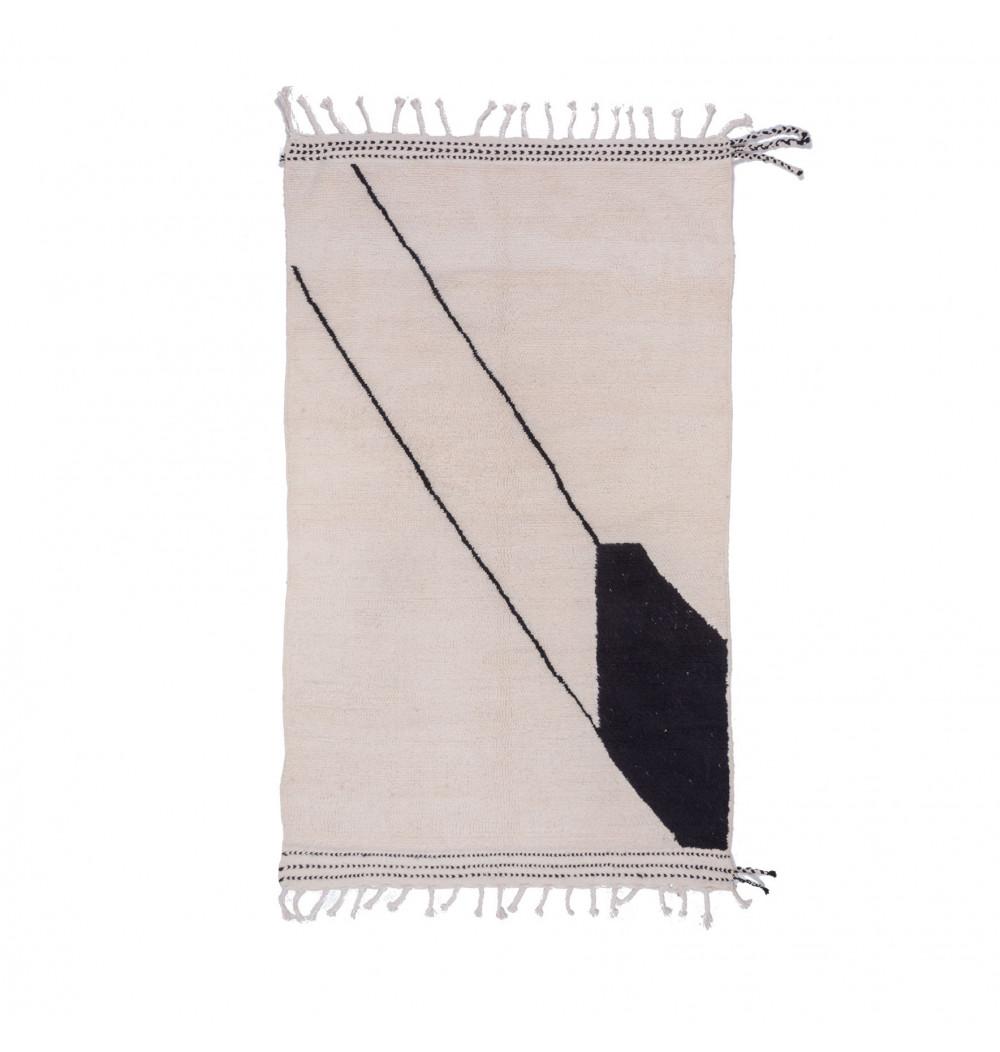 Carpet Beni Ouarain Cerf-Volant white and black