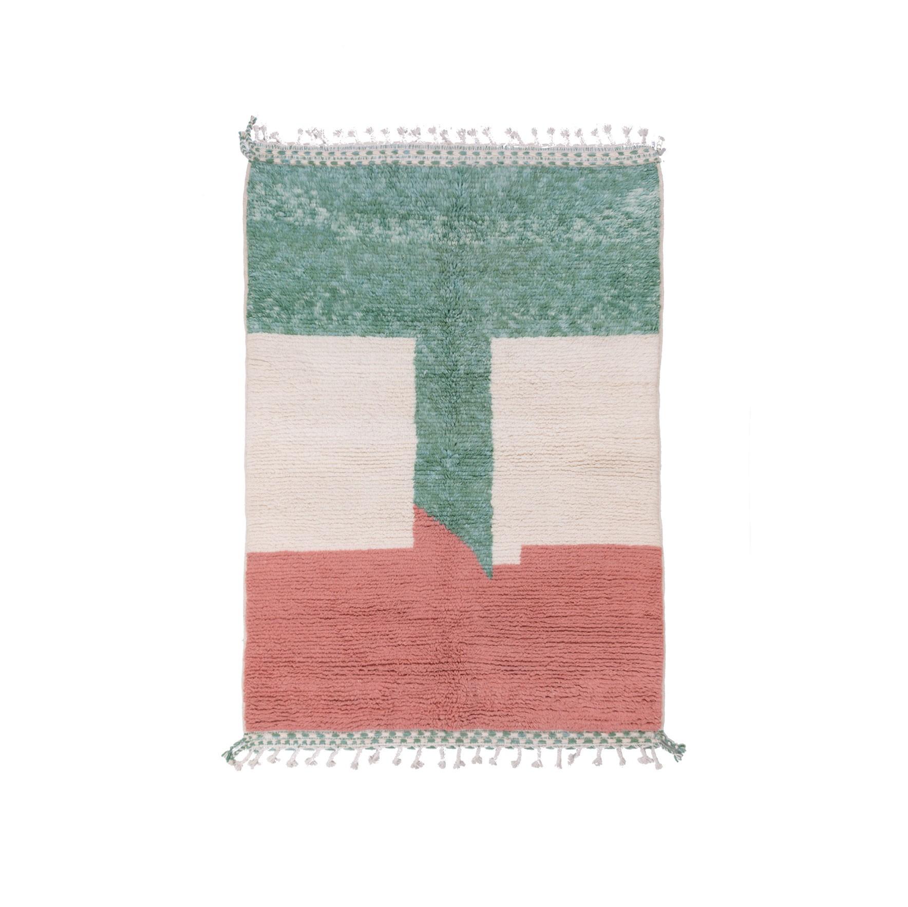 Tapis Beni Ouarain Drapeau vert rouge blanc