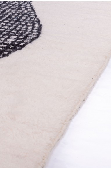 Tapi Beni Ouarain Noir/Blanc motif abstrait quadrillé
