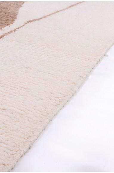 Tapis Beni Ouarain bicolore Blanc et Beige