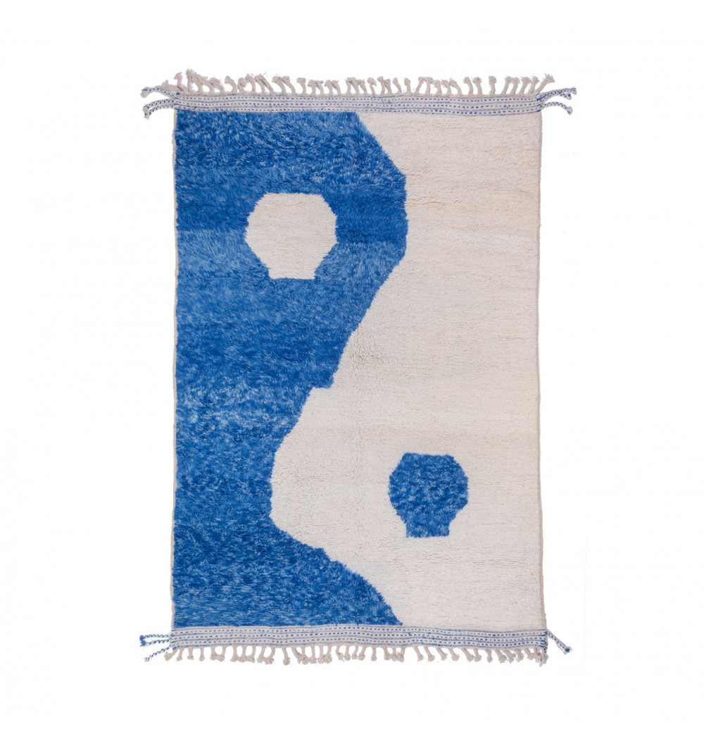 Tapis Beni Ouarain Ying et Yang en bleu et blanc