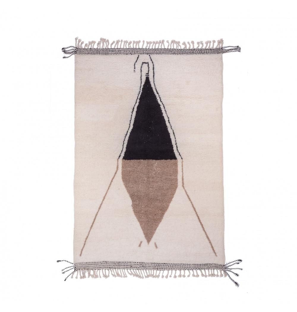 Carpet Beni Ouarain tricolor White, Black Beige