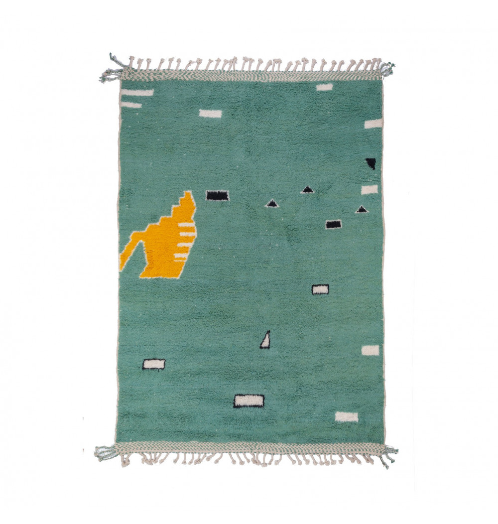 Beni Ouarain rug gray green background
