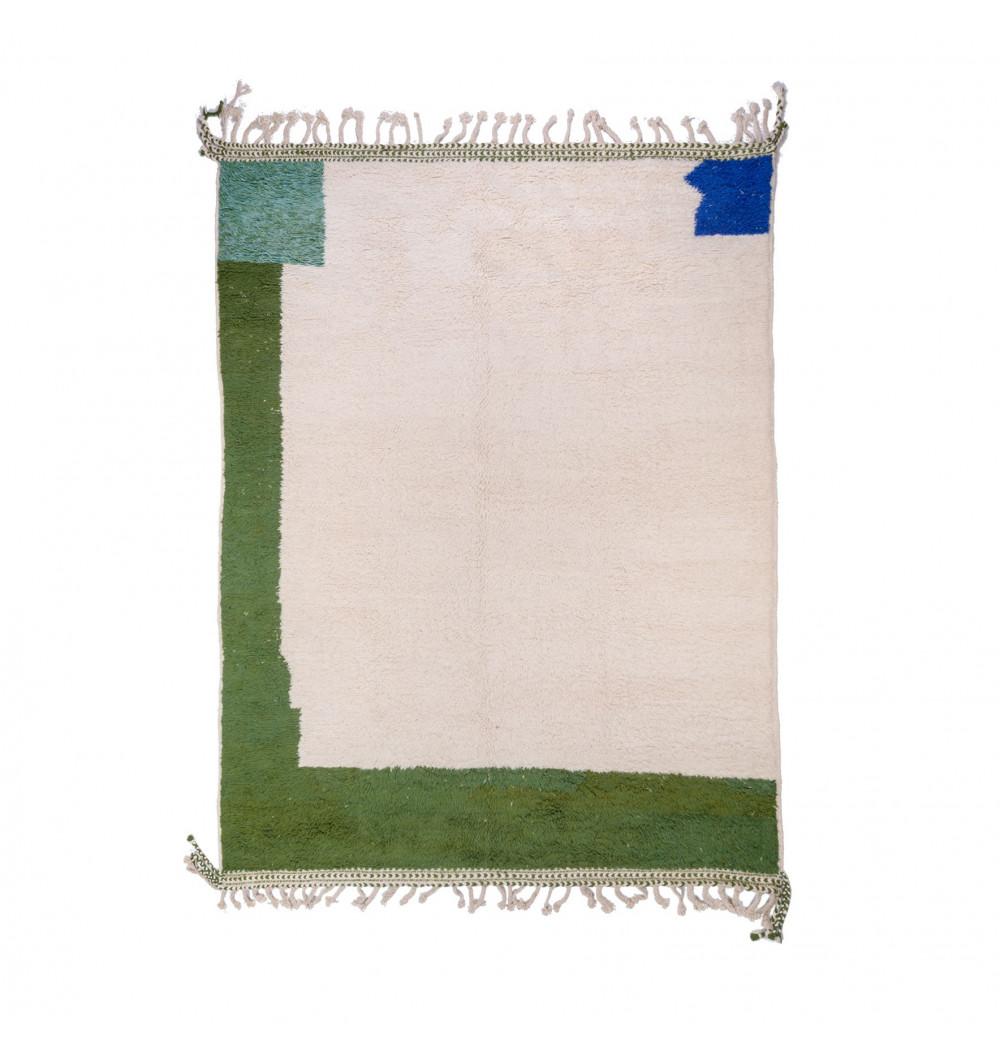 Beni Ouarain carpet 4 color white, green, gray and blue