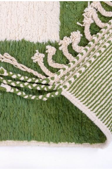 Tapis Beni Ouarain 4 couleur blanc, vert, gris et bleu