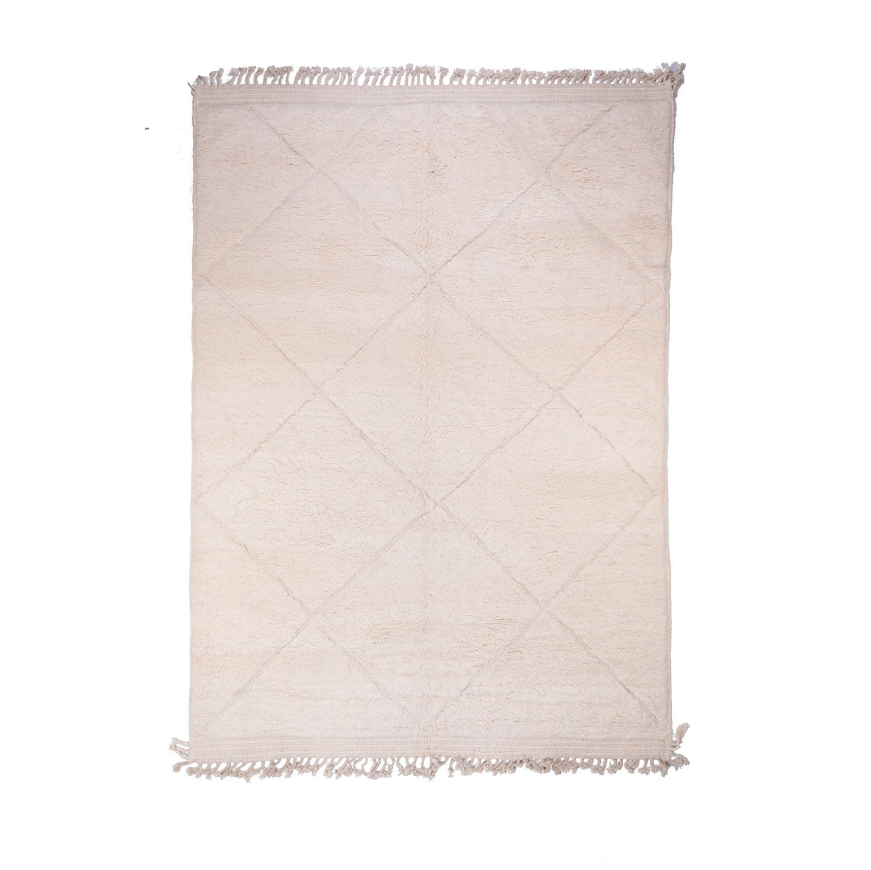 Rug Beni Ouarain Uni Beige and White