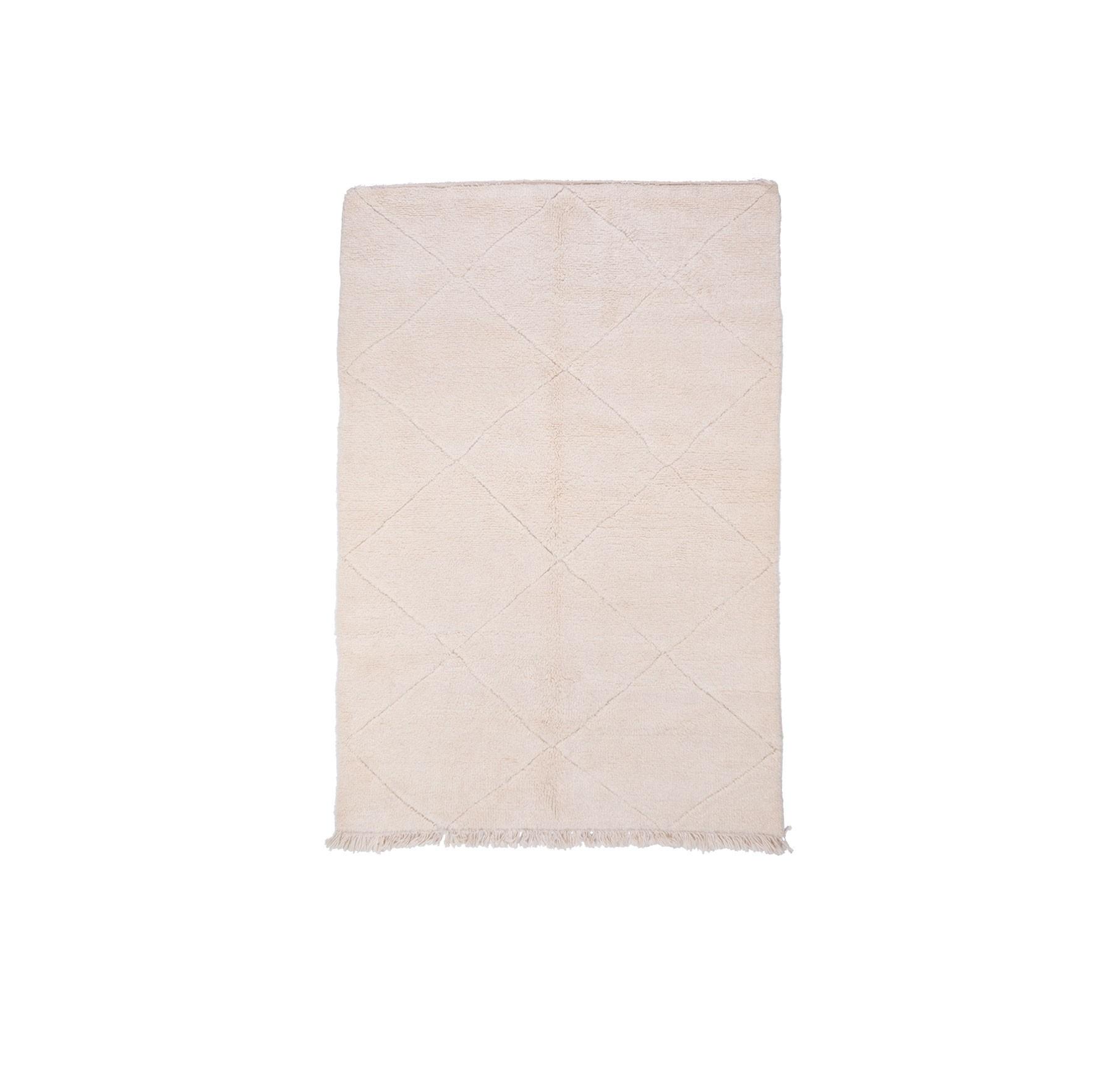 Tapis Beni Ouarain Uni Blanc nuances de gris