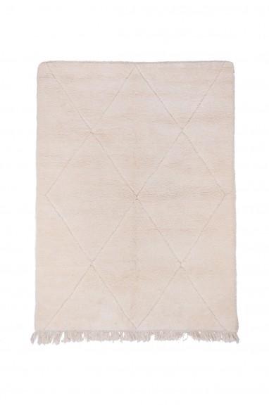 Carpet Beni Ouarain Uni White with light gray fringes