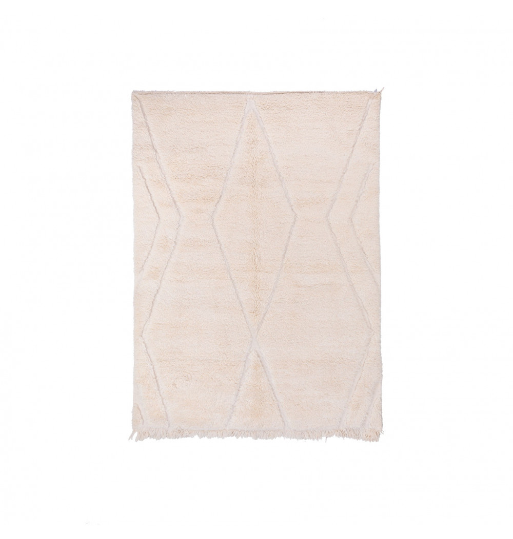 Beni Ouarain rug uni white background relief patterns