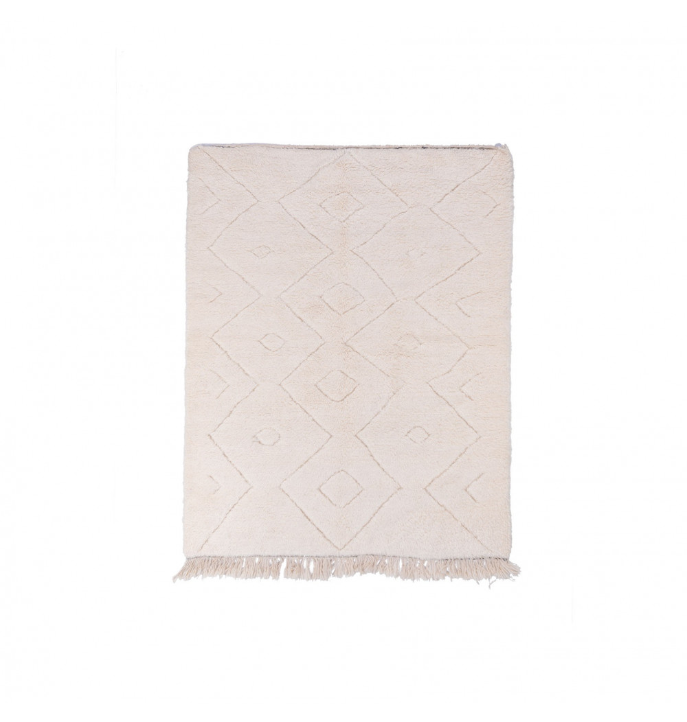 Tapis Beni Ouarain Uni fond blanc motifs frises en relief