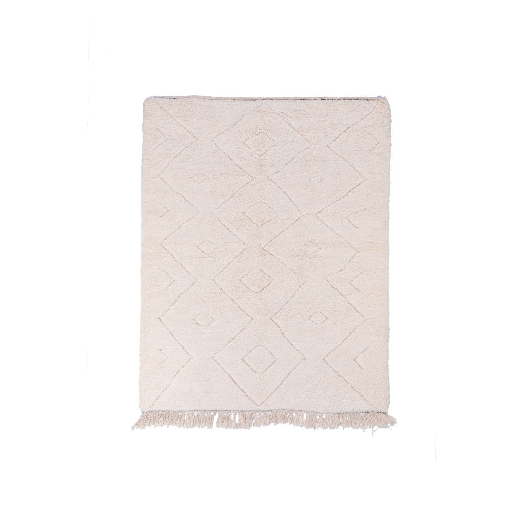 Beni Ouarain rug Uni white background frieze patterns in relief
