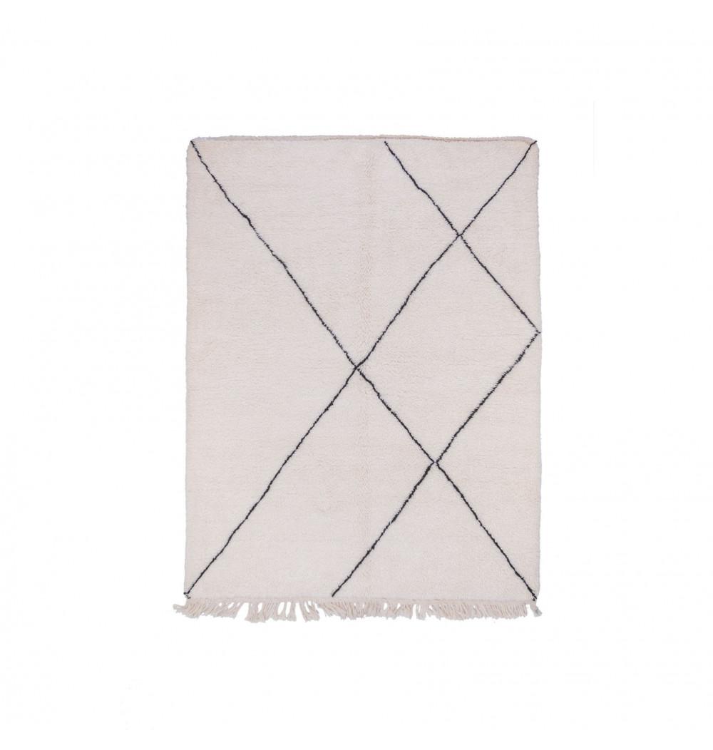 Beni Ouarain Uni White rug with black outline patterns