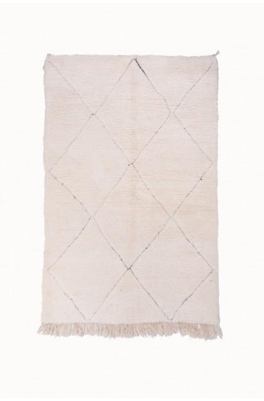 Tapis Beni Ouarain Uni Blanc motifs losanges légèrement contournés