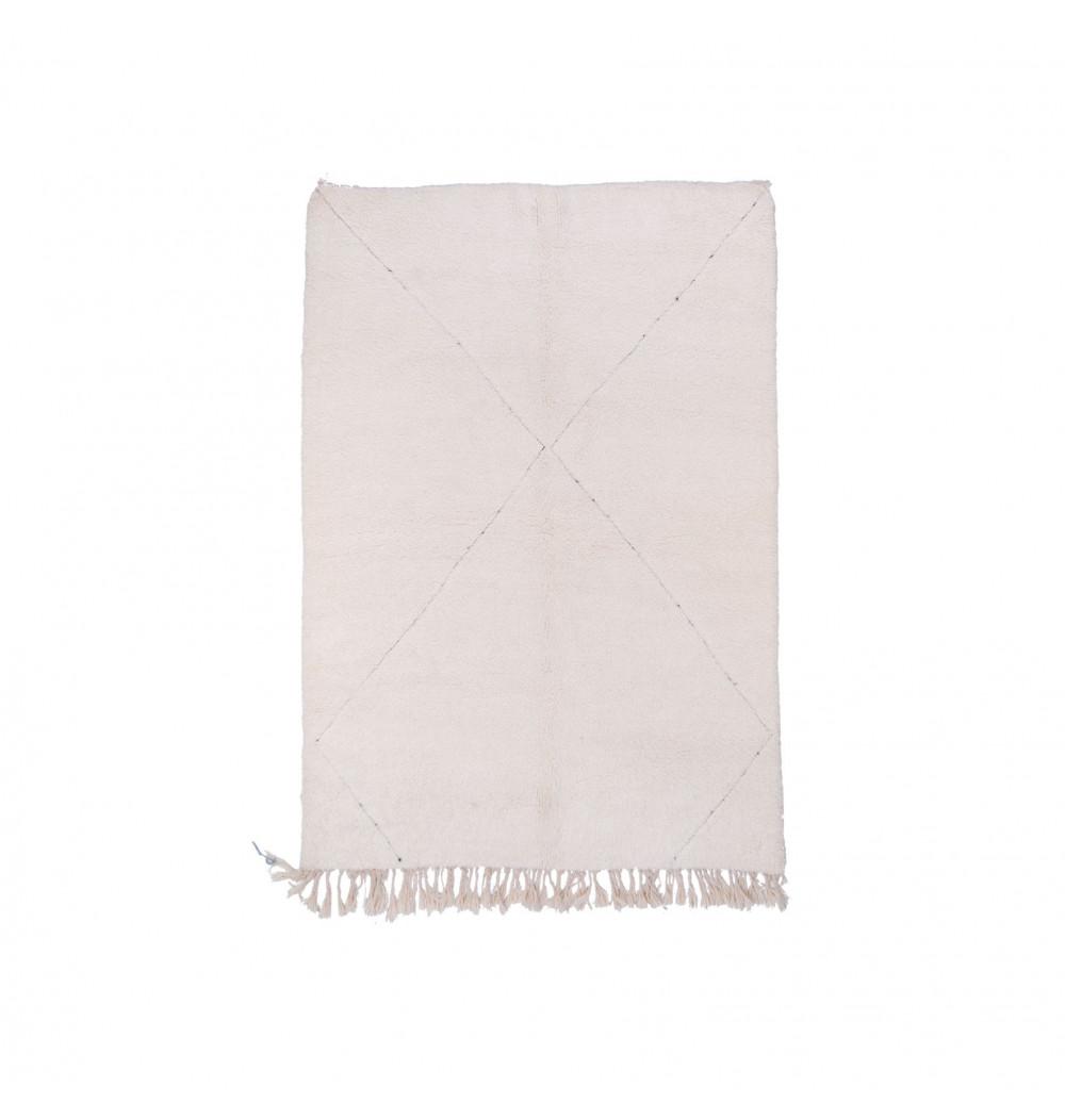 Beni Ouarain Rug Uni White pattern slightly traced in X