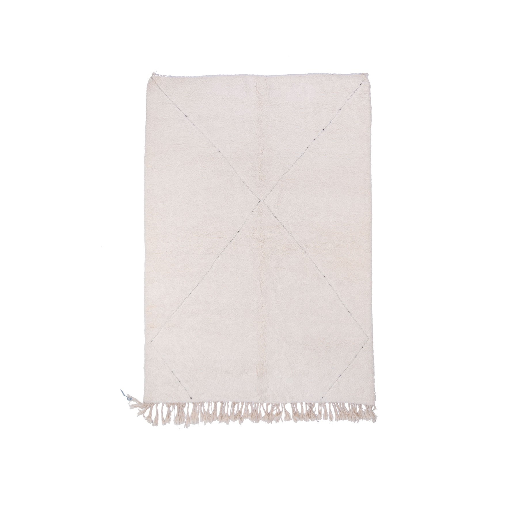 Tapis Beni Ouarain Uni Blanc motif légèrement tracé en X