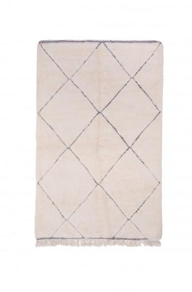 Tapis Beni Ouarain 6 losanges complets contour gris
