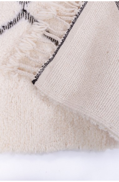 Tapis Beni Ouarain 9 losanges complets contour large gris/noir