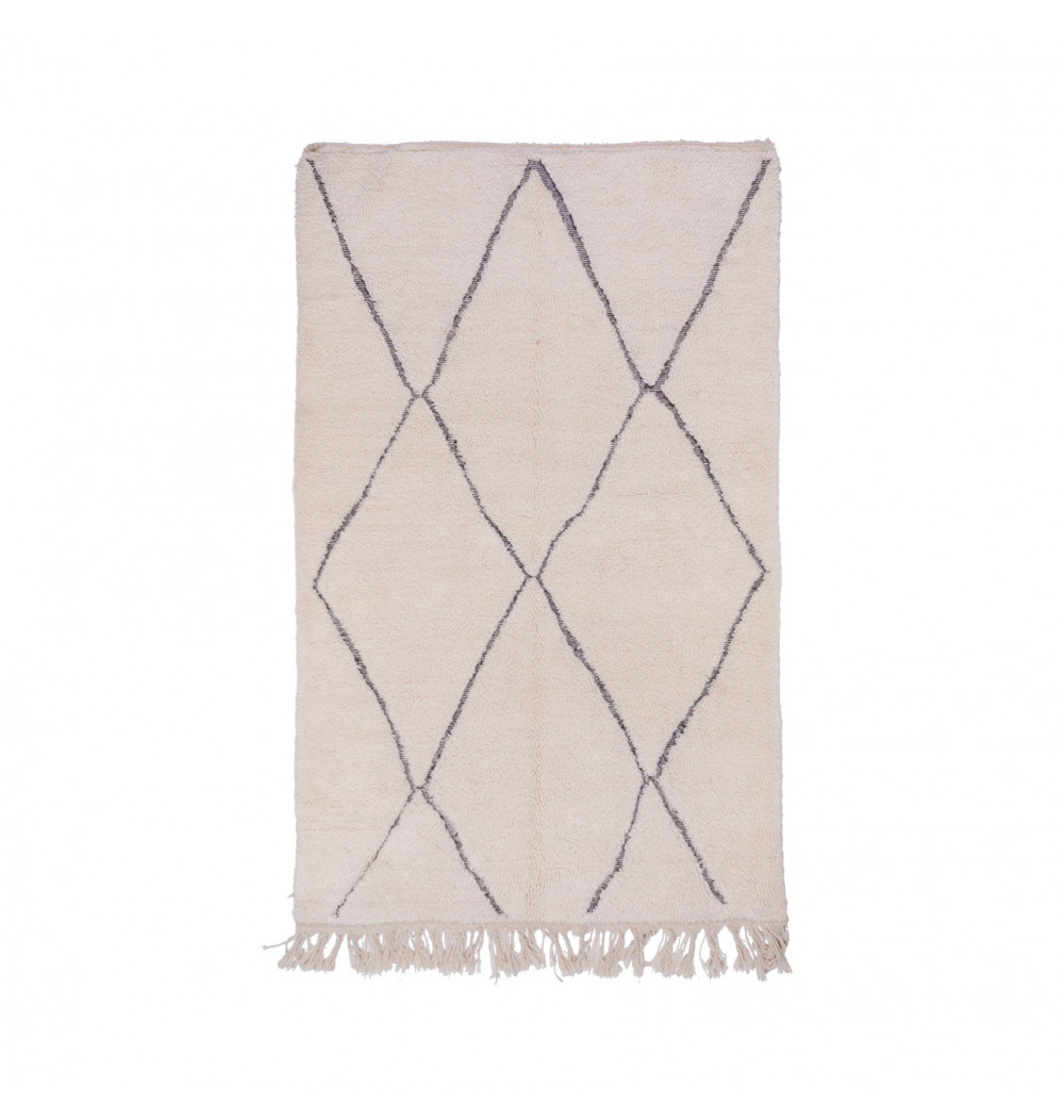 Beni Ouarain carpet 4 stylized diamonds contoured in gray