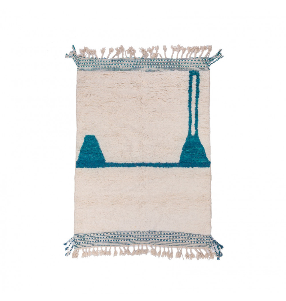 Beni Ouarain duck blue and white rug