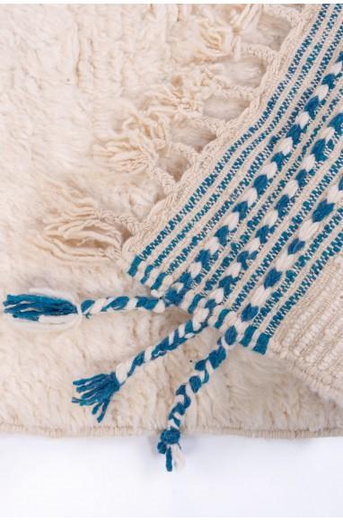 Tapis Beni Ouarain bleu canard et blanc