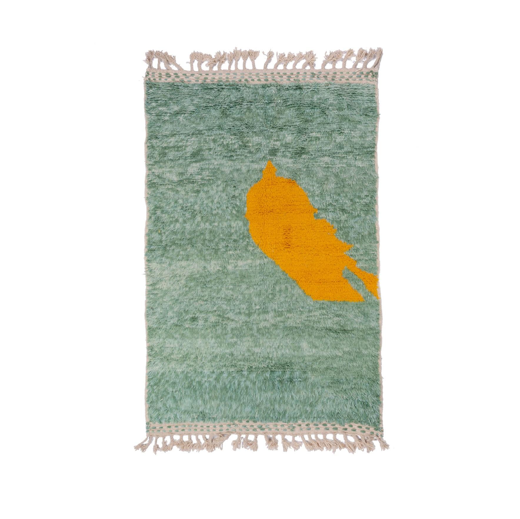 Tapis Beni Ouarain Fond vert motif jaune