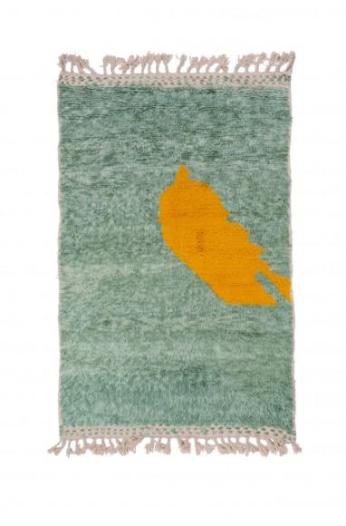 Beni Ouarain rug Green background yellow pattern