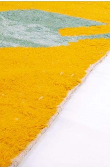 Tapis Beni Ouarain fond Jaune/beige motif gris