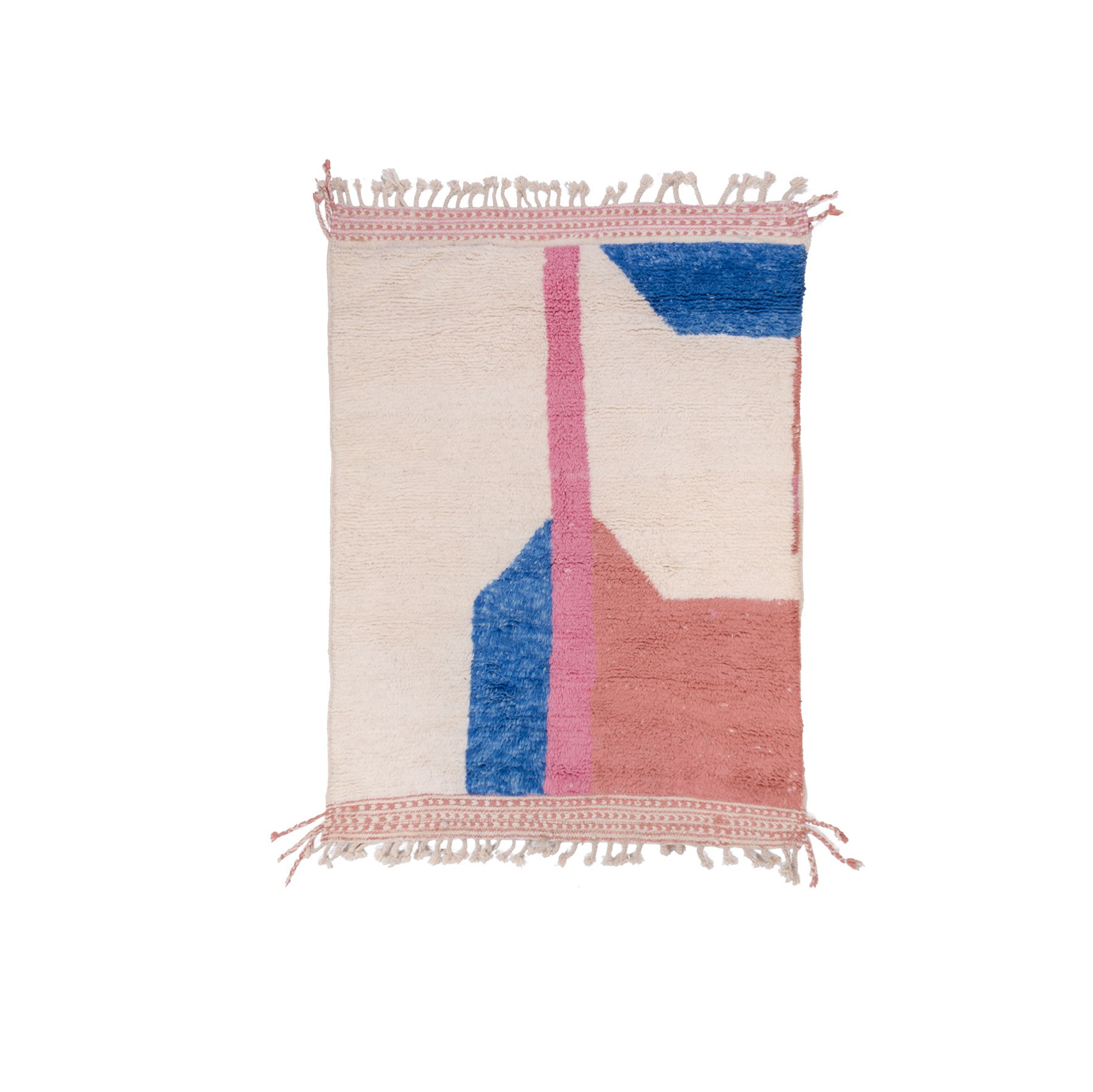 Tapis Beni Ouarain blanc, rose et bleu