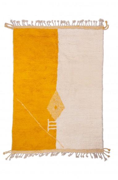 Beni Ouarain rug yellow, beige, white