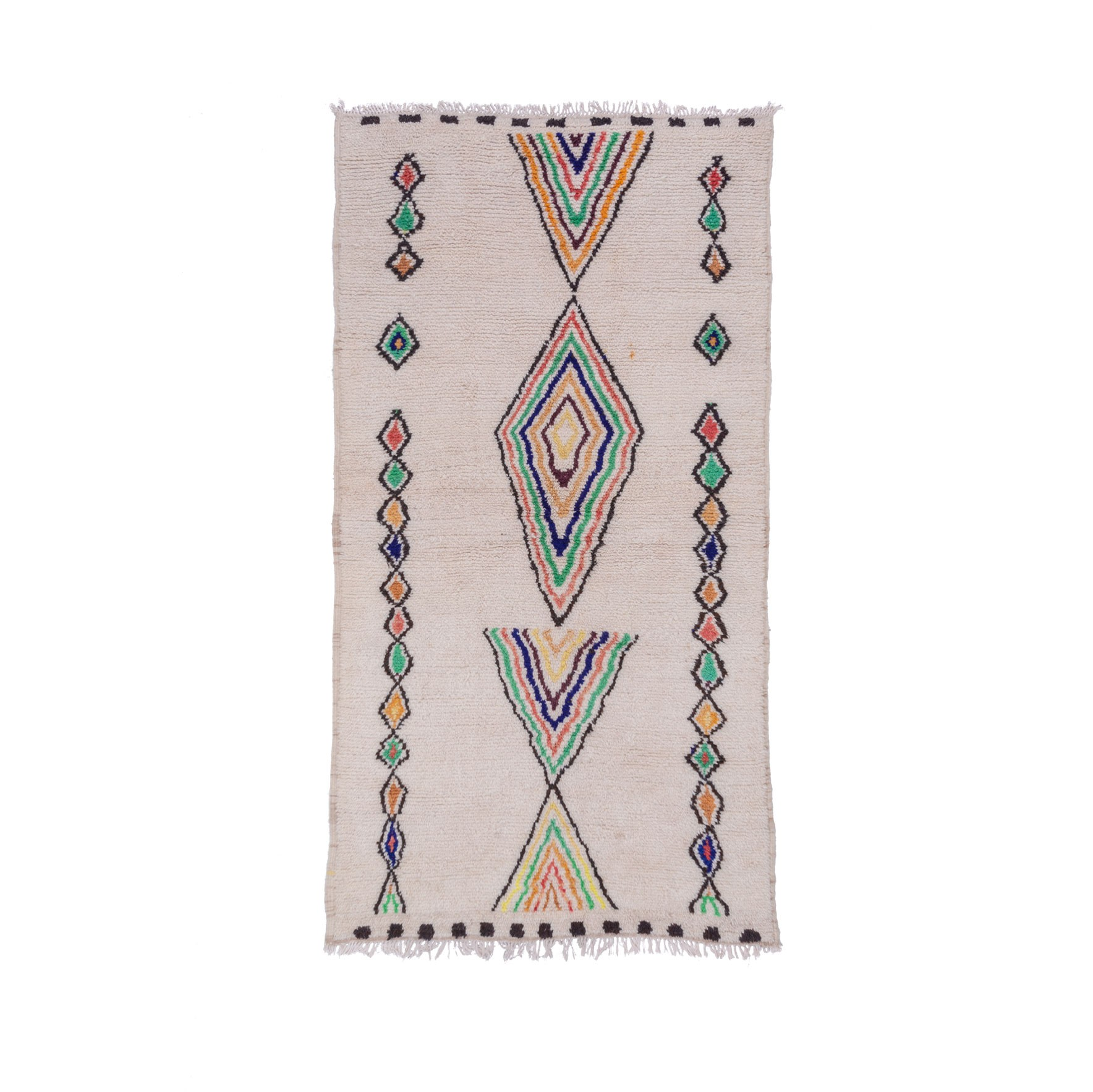 Azilal carpet white background multicolored patterns
