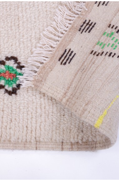 Tapis Azilal fond blanc motifs multicolores