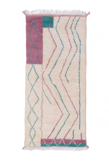 Azilal carpet white pink and blue
