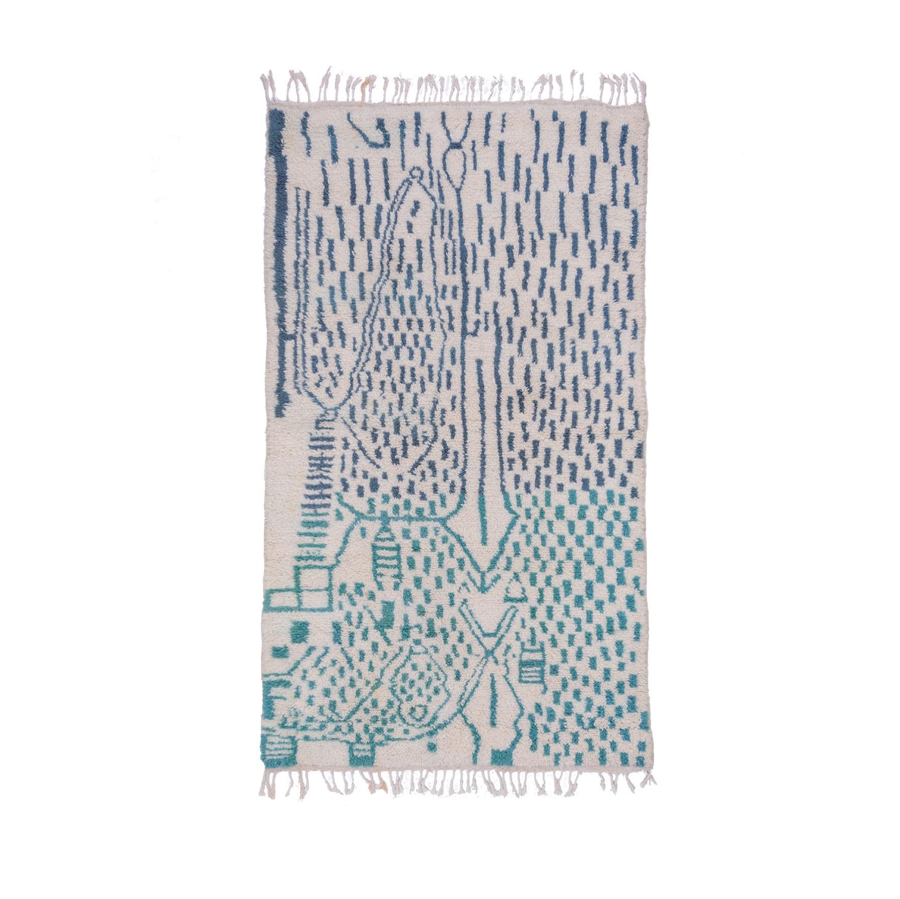 Tapis Azilal blanc bleu et vert