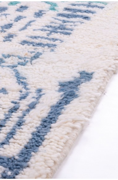 Azilal carpet white blue and green