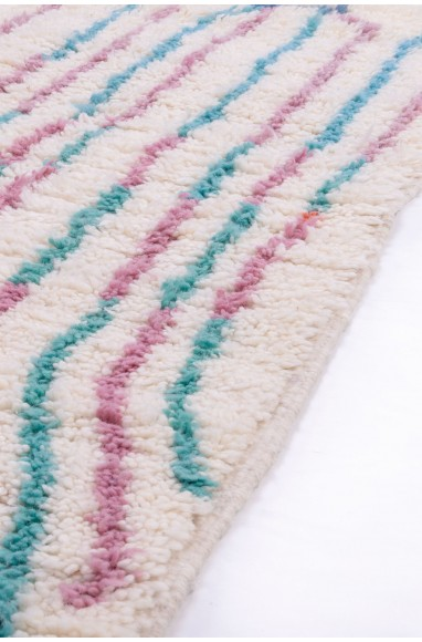 Azilal carpet white, pink and two tones of blue