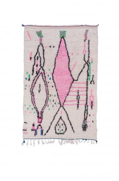 Tapis Azilal Blanc rose et vert