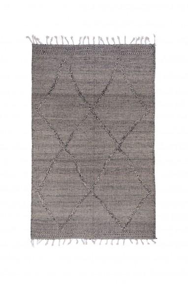 Gray and black kilim rug