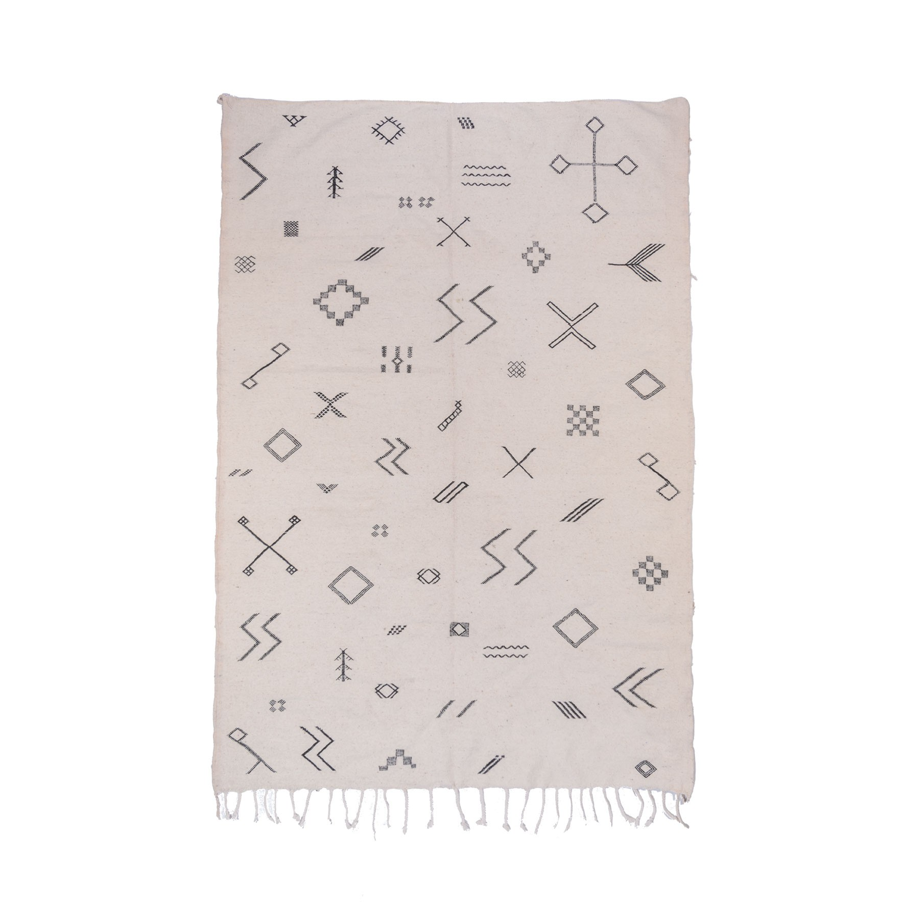 White and gray kilim rug