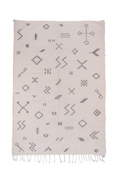 Tapis Kilim blanc et gris