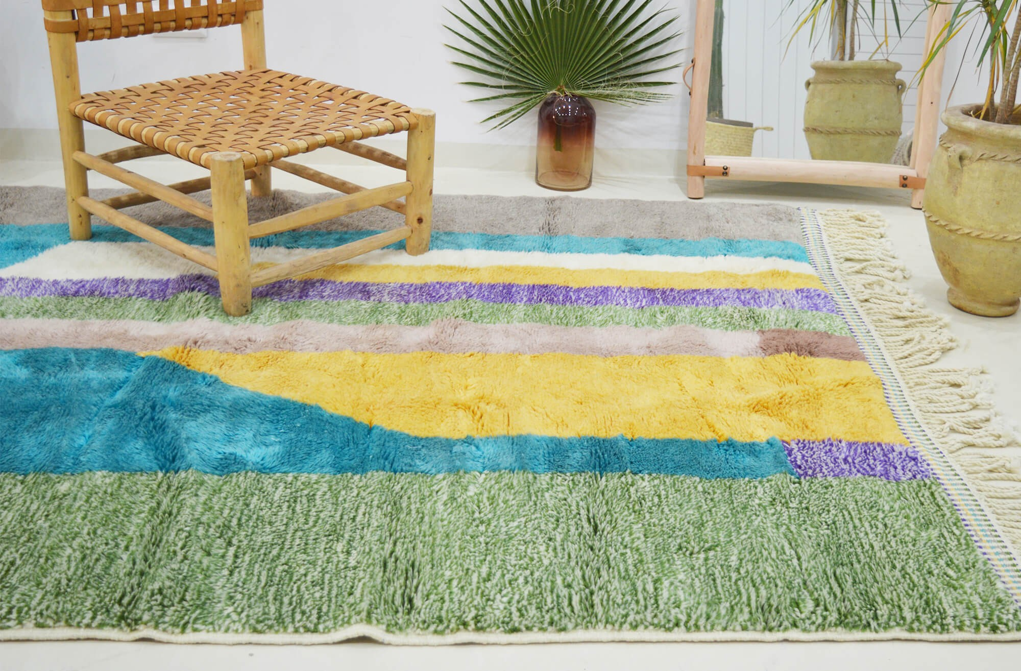 Azilal rug Colored irregular bands
