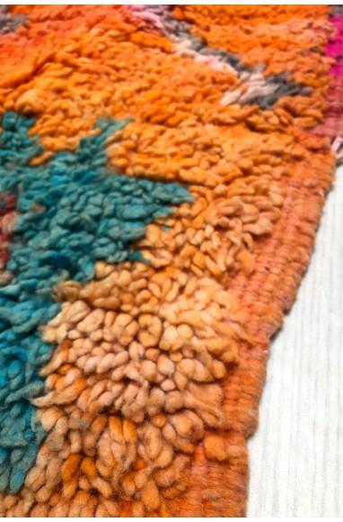 Tapis Vintage Orange, rose et bleu turquoise