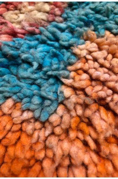 Vintage Rug Orange, Pink and Turquoise Blue