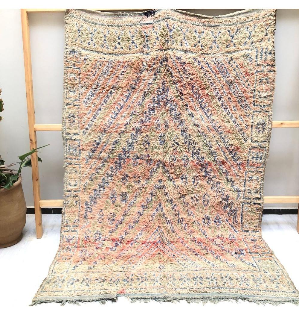 Vintage frayed wool rug