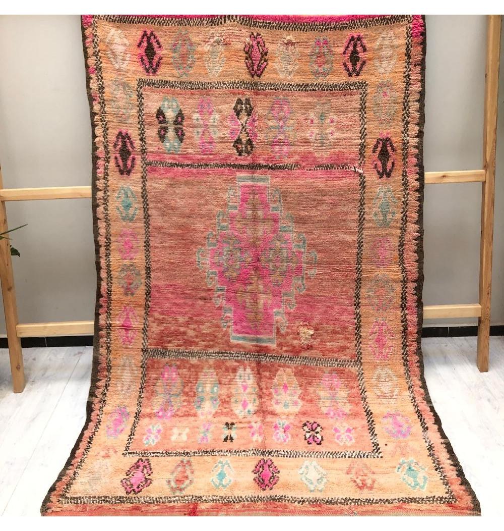 Vintage rug pink, brown, turquoise
