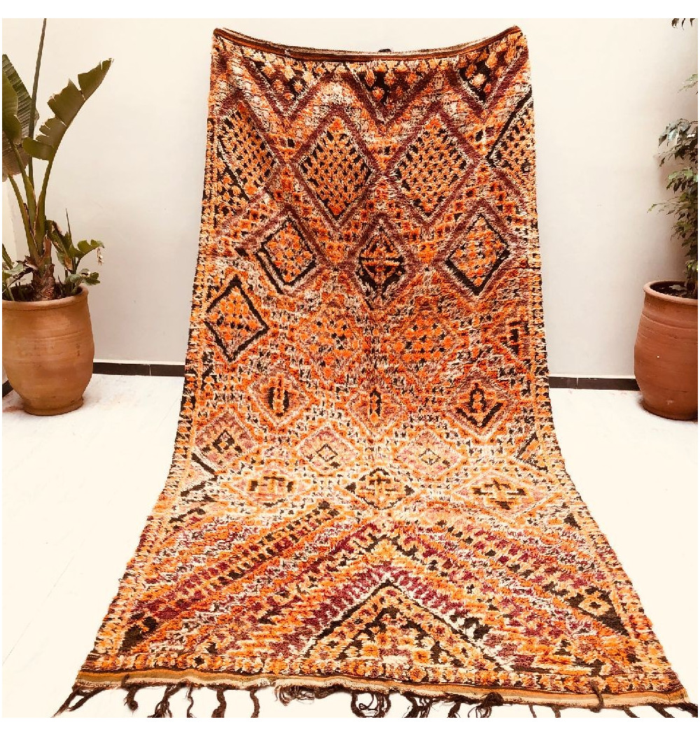 Vintage Rug Orange Purple and Brown